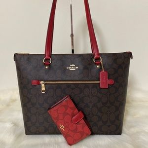 New💃Coach Gallery Tote shoulder and wallet Set